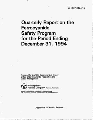 Primary view of object titled 'Quarterly report on the ferrocyanide safety program for the period ending December 31, 1994'.