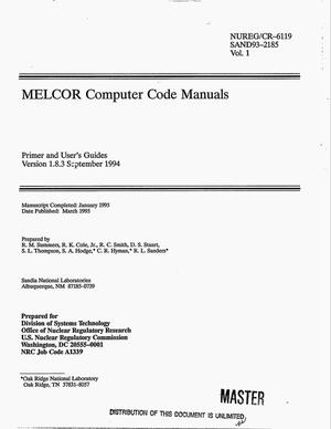 Primary view of object titled 'MELCOR computer code manuals: Primer and user`s guides, Version 1.8.3 September 1994. Volume 1'.