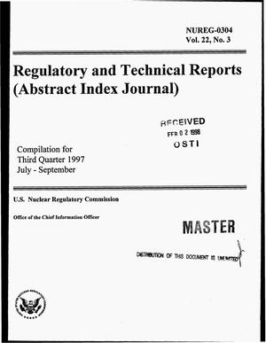 Primary view of object titled 'Regulatory and technical reports (abstract index journal). Compilation for third quarter 1997, July--September'.