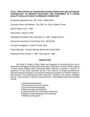 Primary view of object titled 'Application of reservoir characterization and advanced technology to improve recovery and economics in a lower quality Shallow Shelf Carbonate reservoir. Quarterly report, October 1, 1996--December 31, 1996'.