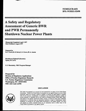 Primary view of object titled 'A safety and regulatory assessment of generic BWR and PWR permanently shutdown nuclear power plants'.