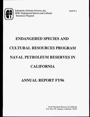 Primary view of object titled 'Endangered species and cultural resources program Naval petroleum Reserves in California. Annual report FY96'.