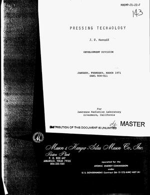 Primary view of object titled 'Pressing technology. [Quarterly report], January--March 1971'.