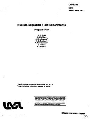 Primary view of object titled 'Nuclide-migration field experiments'.