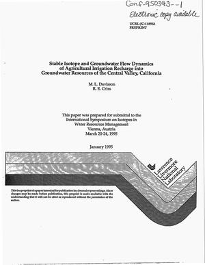 Primary view of object titled 'Stable isotope and groundwater flow dynamics of agricultural irrigation recharge into groundwater resources of the Central Valley, California'.