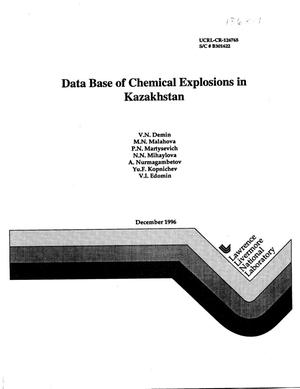 Primary view of object titled 'Data base of chemical explosions in Kazakhstan'.