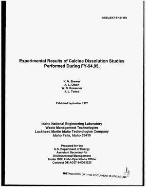 Primary view of object titled 'Experimental results of calcine dissolution studies performed during FY-94,95'.