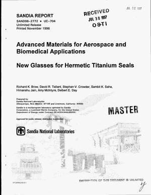 Primary view of object titled 'Advanced materials for aerospace and biomedical applications: New glasses for hermetic titanium seals'.