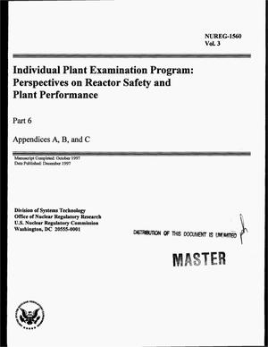 Primary view of object titled 'Individual plant examination program: Perspectives on reactor safety and plant performance. Part 6, appendices A, B, and C'.