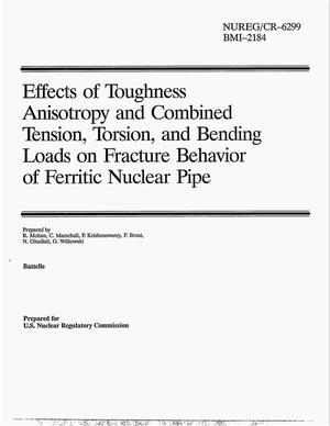 Primary view of object titled 'Effects of toughness anisotropy and combined tension, torsion, and bending loads on fracture behavior of ferritic nuclear pipe'.