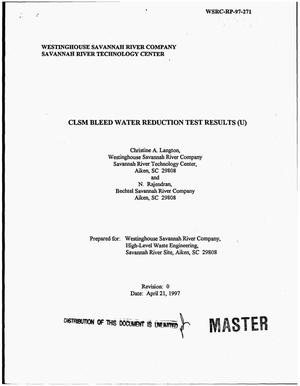 Primary view of object titled 'CLSM bleed water reduction test results'.