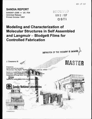 Primary view of object titled 'Modeling and characterization of molecular structures in self assembled and Langmuir-Blodgett films for controlled fabrication'.