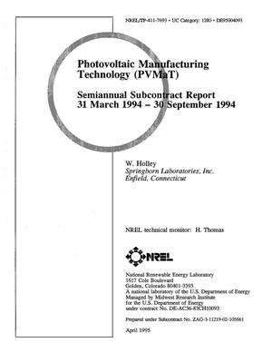 Primary view of object titled 'Photovoltaic manufacturing technology (PVMaT). Semiannual subcontract report, March 31, 1994--September 30, 1994'.