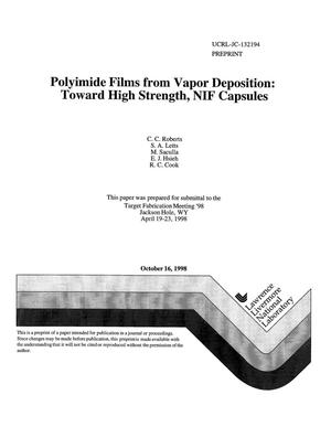 Primary view of object titled 'Polyimide films from vapor deposition: toward high strength, NIF capsules'.