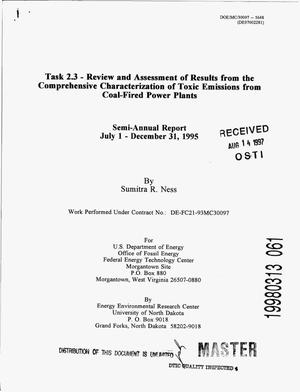 Primary view of object titled 'Task 2.3 - Review and Assessment of Results from the Comprehensive Characterization of Toxic Emissions from Coal-Fired Power Plants: Semi-annual report, July 1- December 31, 1995'.