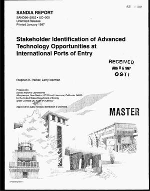 Primary view of object titled 'Stakeholder identification of advanced technology opportunities at international ports of entry'.