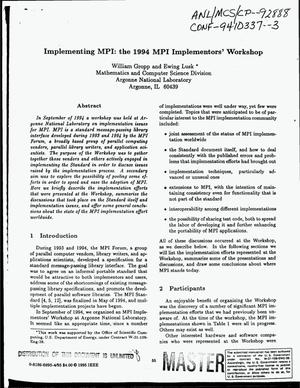 Primary view of object titled 'Implementing MPI: The 1994 MPI implementors` workshop'.