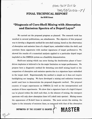 Primary view of object titled 'Diagnosis of core-shell mixing with absorption and emission spectra of a doped layer. Final technical report'.
