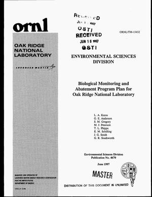 Primary view of object titled 'Biological monitoring and abatement program plan for Oak Ridge National Laboratory'.