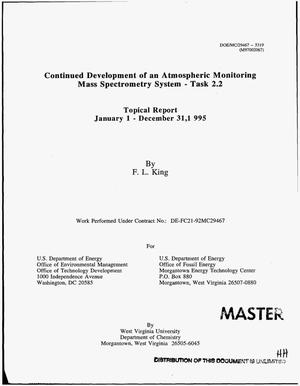 Primary view of object titled 'Continued development of an atmospheric monitoring mass spectrometry system - task 2.2. Topical report, January 1, 1995--December 31, 1995'.