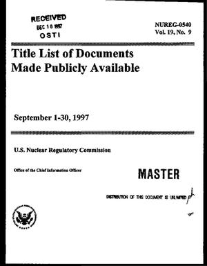 Primary view of object titled 'Title list of documents made publicly available, September 1-30, 1997'.