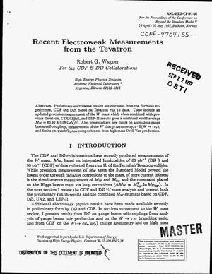 Primary view of object titled 'Recent electroweak measurements from the tevatron'.