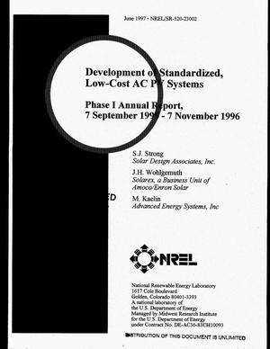 Primary view of object titled 'Development of standardized, low-cost AC PV systems. Phase I annual report, 7 September 1995--7 November 1996'.