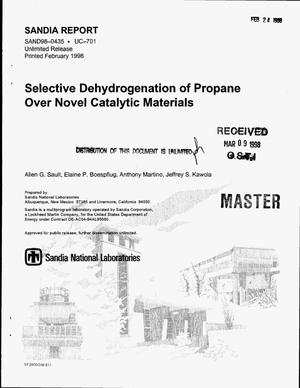 Primary view of object titled 'Selective dehydrogenation of propane over novel catalytic materials'.
