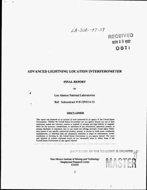 Primary view of object titled 'Advanced lightning location interferometer. Final report'.