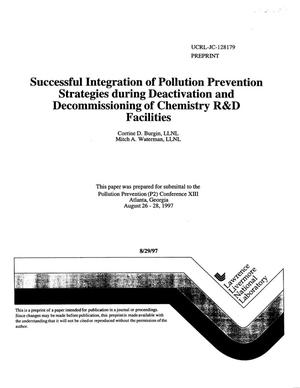 Primary view of object titled 'Successful integration of pollution prevention strategies during deactivation and decommissioning of chemistry R{ampersand}D facilities'.