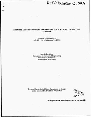 Primary view of object titled 'Natural convection heat exchangers for solar water heating systems. Technical progress report, July 15, 1996--September 14, 1996'.