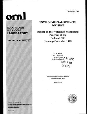 Primary view of object titled 'Report on the Watershed Monitoring Program at the Paducah Site January-December 1998'.