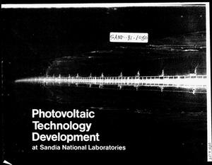 Primary view of object titled 'Photovoltaic technology development at Sandia National Laboratories'.