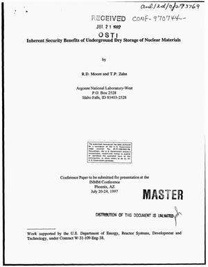 Primary view of object titled 'Inherent security benefits of underground dry storage of nuclear materials'.