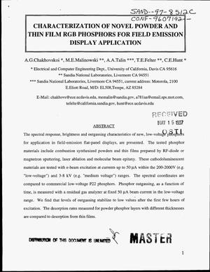 Primary view of object titled 'Characterization of novel powder and thin film RGB phosphors for field emissions display application'.