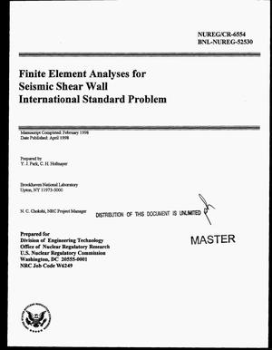 Primary view of object titled 'Finite element analyses for seismic shear wall international standard problem'.