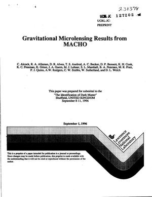 Primary view of object titled 'Gravitational microlensing results from MACHO'.