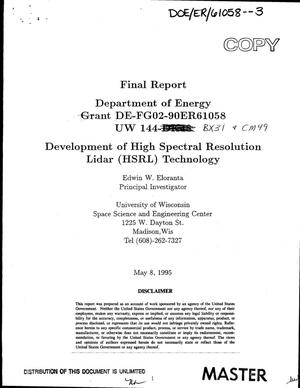 Primary view of object titled 'Development of high spectral resolution lidar (HSRL) technology. Final report'.