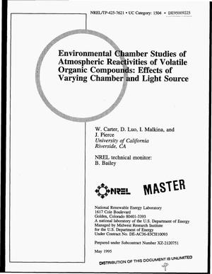 Primary view of object titled 'Environmental chamber studies of atmospheric reactivities of volatile organic compounds: Effects of varying chamber and light source'.