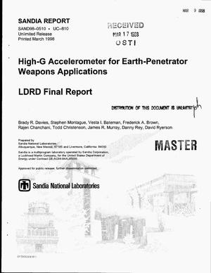Primary view of object titled 'High-G accelerometer for earth-penetrator weapons applications. LDRD final report'.
