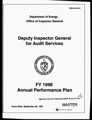 Primary view of object titled 'Deputy Inspector General for audit services. FY 1998 annual performance plan'.