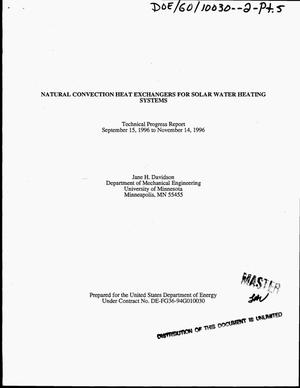 Primary view of object titled 'Natural convection heat exchangers for solar water heating systems. Technical progress report, September 15, 1996--November 14, 1996'.