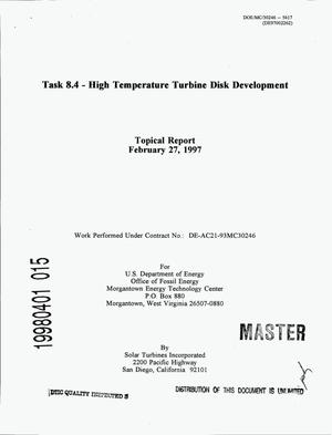 Primary view of object titled 'Task 8.4 - High Temperature Turbine Disk Development'.