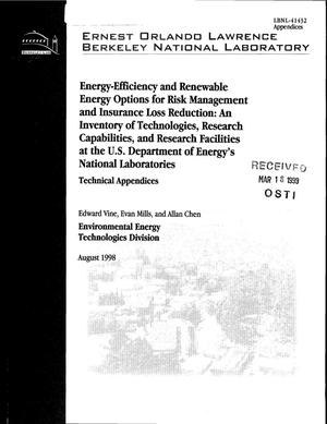 Primary view of object titled 'Energy efficiency and renewable energy options for risk management and insurance loss reduction: An inventory of technologies, research capabilities, and research facilities at the U.S. Department of Energy's National Laboratories'.