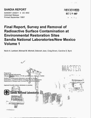 Primary view of object titled 'Final report: survey and removal of radioactive surface contamination at environmental restoration sites, Sandia National Laboratories/New Mexico. Volume 1'.