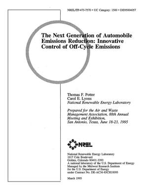 Primary view of object titled 'The next generation of automobile emissions reduction: Innovative control of off-cycle emissions'.