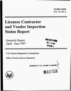 Primary view of object titled 'Licensee contractor and vendor inspection status report. Quarterly report, April 1997--June 1997'.