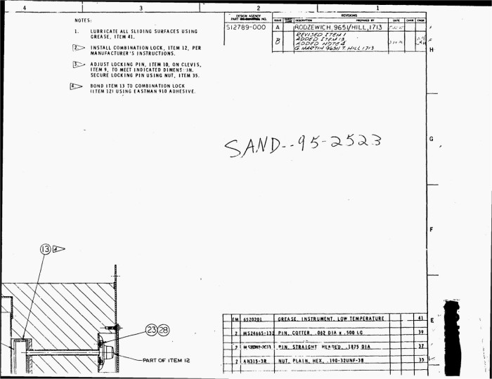 Door assembly diagram: DWG {number_sign}S12789 - Digital Library
