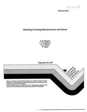 Primary view of object titled 'Modeling of casting microstructures and defects'.