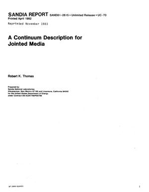 Primary view of object titled 'Continuum description for jointed media'.
